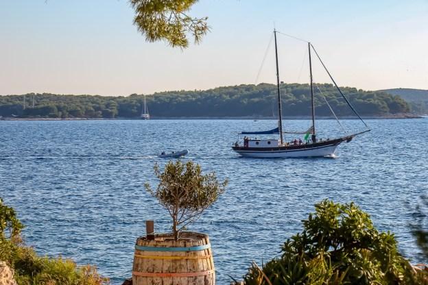 Sailboat on water in Hvar, Croatia