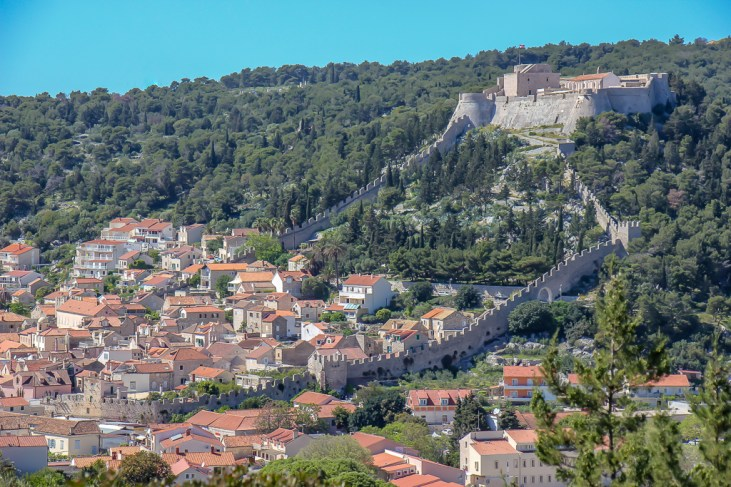 View of Hvar Town and Spanish Fortress from afar