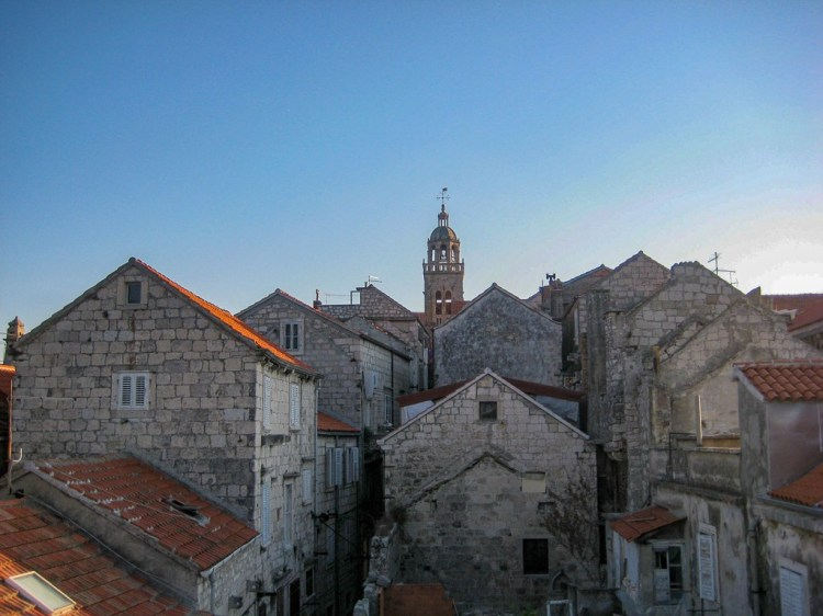 Rooftops of Old Town Korcula in Croatia