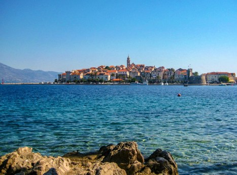 View of Korcula Old Town from across the bay on Korcula Island, Croatia
