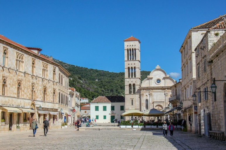Main Square and St. Stephen's Church in Hvar Town, Croatia