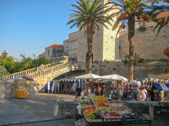 Fresh produce market outside Land Gate on Korcula Island, Croatia