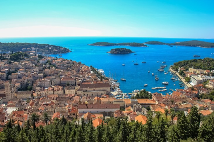 View of Hvar Town and Adriatic Sea from Spanish Fortress in Croatia