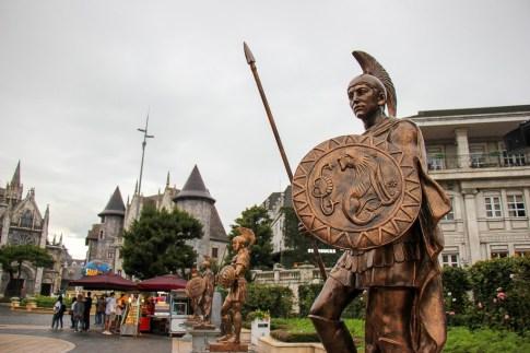 Roman statues in French Village at Ba Na Hills in Da Nang, Vietnam