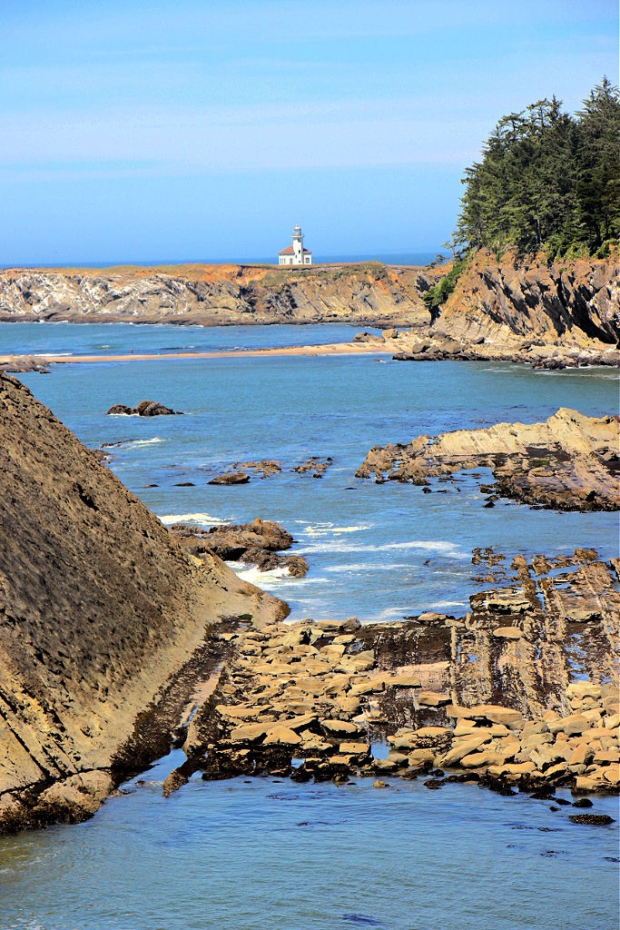 View of Cape Arago Lighthouse from Sunset Bay Beach Trail in Coos Bay, Oregon