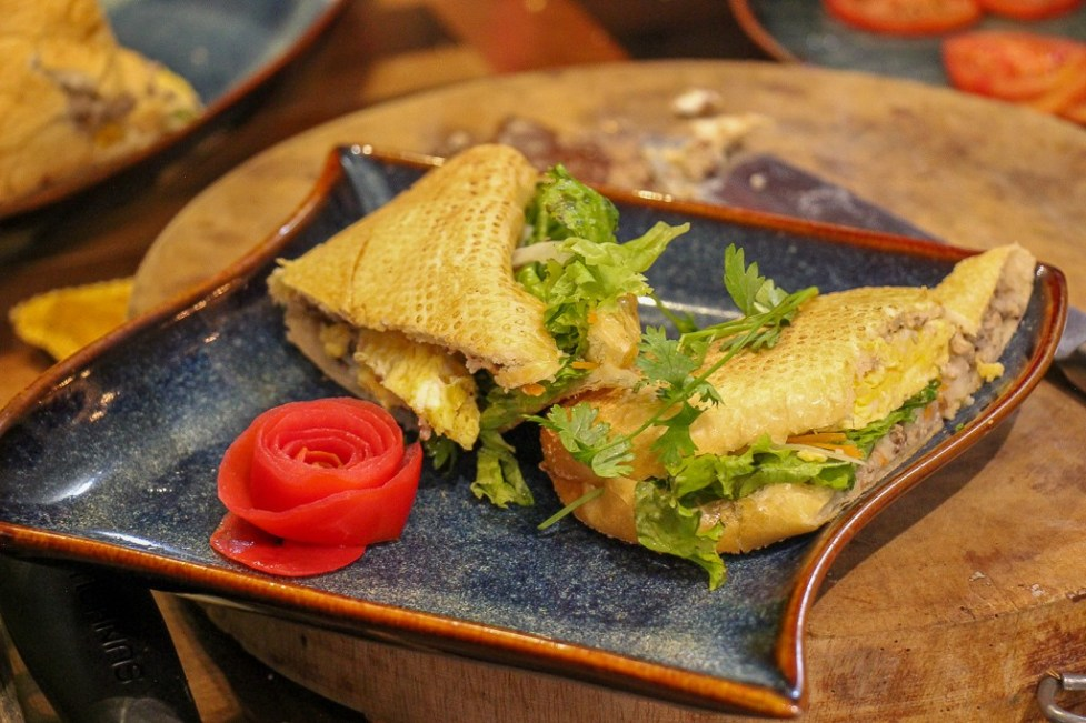 Egg Banh Mi Sandwich prepared at Cooking Class in Hanoi, Vietnam