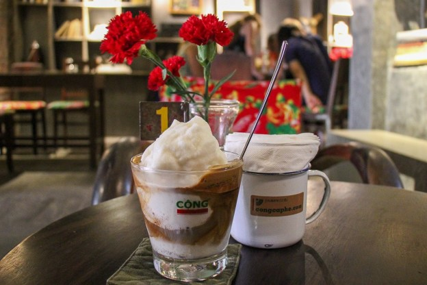 Iced Coconut Coffee at Cong Cafe in Hanoi, Vietnam