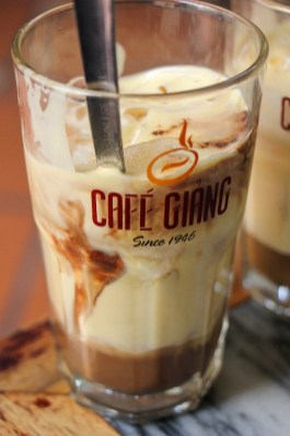 Vietnamese Egg Coffee at famous Cafe Giang in Hanoi, Vietnam