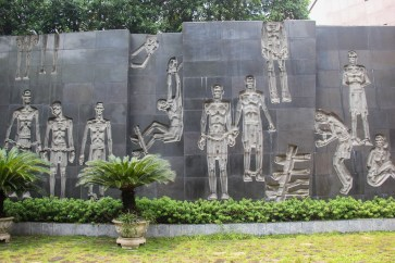 Mural at Hoa Lo Prison in Hanoi, Vietnam