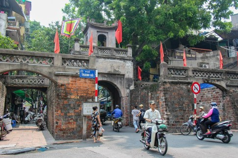Old City Gate O Quan Chuong in Hanoi, Vietnam