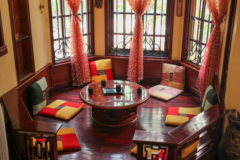 Welcoming tea room at Rose Kitchen in Hanoi, Vietnam
