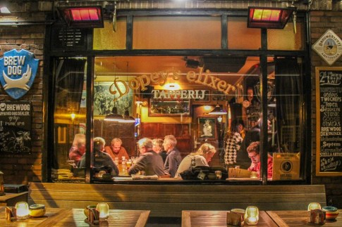 View inside the cozy Dopey's Elixer Beer Café Amsterdam