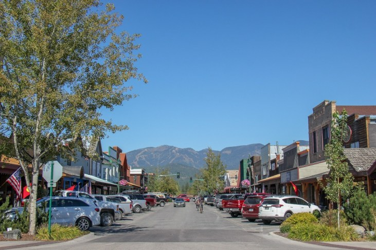 Looking down Central in Whitefish, Montana