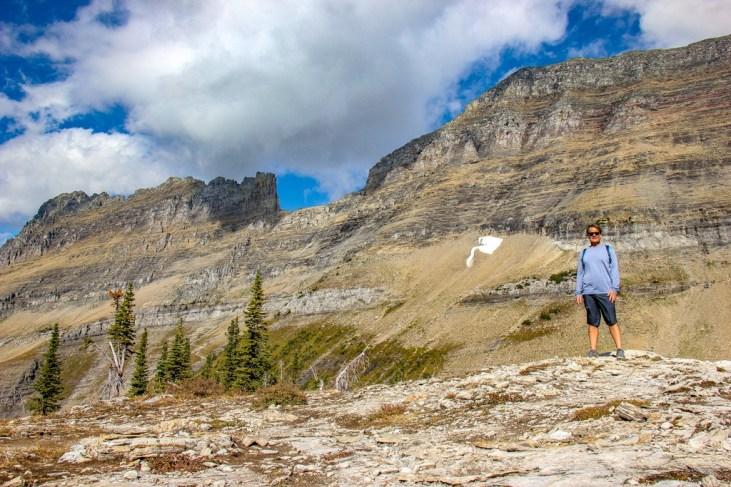 Kris enjoying the Highline Trail View, Glacier National Park, Montana