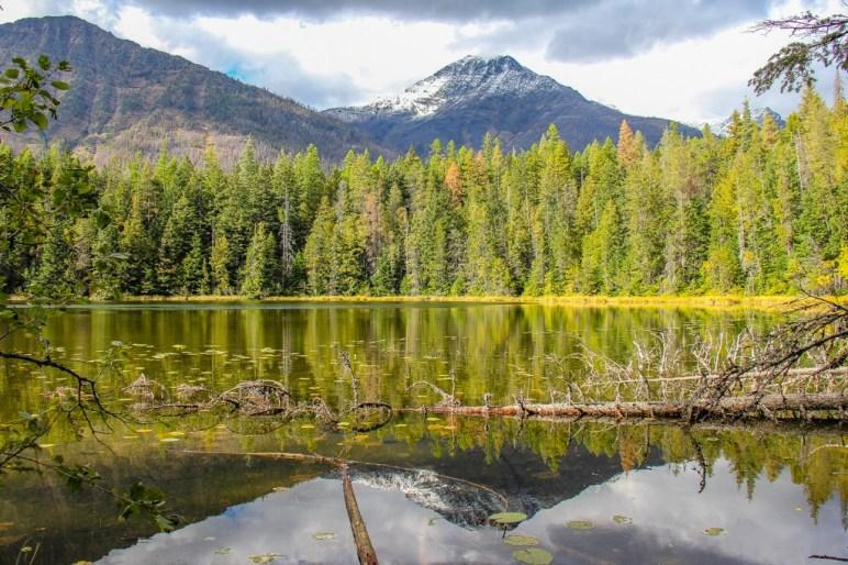 View across Johns Lake, Glacier National Park, Montana