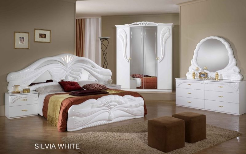 silvia white mahogany italian bedroom set