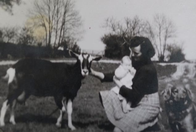 Grandmother with Auntie Hilary and Bramble the Goat