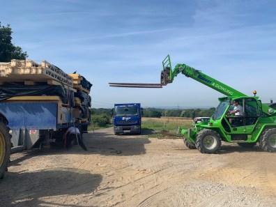 Off loading timber frame panels
