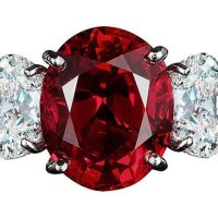 A Gorgeous Ring Centered Upon A Fiery 8 Carat Imperial Red Thai Ruby Flanked by Oval Diamonds