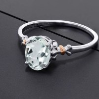 Gorgeous 925 Sterling Silver and 10K Rose Gold Ring Oval Sky Blue Aquamarine Ring