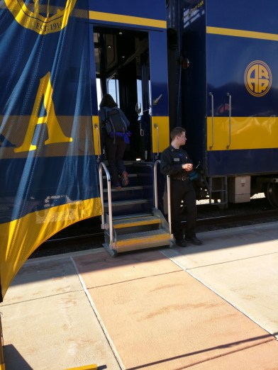 All Aboard! That is our steward at the doorway.