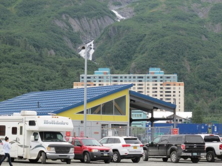 Whittier, Alaska Marie Highway terminal with Begich Towers in the background. In between lies a large railyard, to get there requires walking through a pedestrian tunnel.