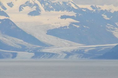 The lines on the glacier are rock deposited along the side of the tributary glaciers above.