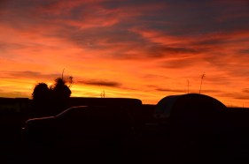 Jeep and Trailer silhoutted against the sunset
