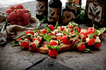 Caprese Skewers with Balsamic Stout Reduction
