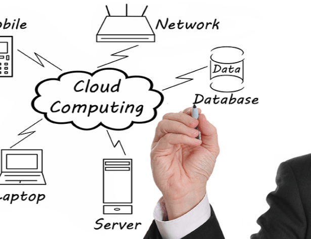 Businessman drawing a Cloud Computing 800x500 72 ppi - Network Design Services