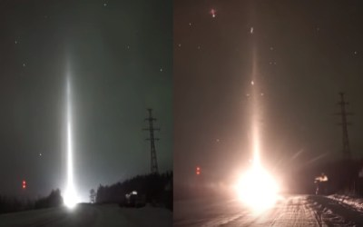 Mysterious Beam of Light emerges from the sky in Russia
