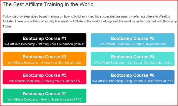 A page reading the best affiliate training in the world shwoing the various bootcamp courses