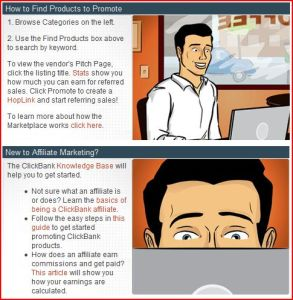 Drawing showing a man at the top and another at the bottom before laptpps searching through the marketplace for clickbank products to promote