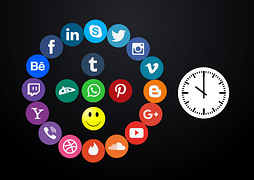 Social media logos displayed on circles
