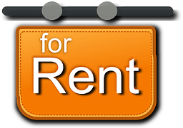 "A yellow sign showing ""for rent"""