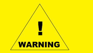 """Traingle drawn on a bright yellow background with the words """"Warning"""""""