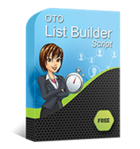 A PHP script with a lady and a timer showing the OTO List Builder Script