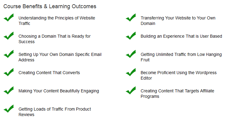 The course benefits listed
