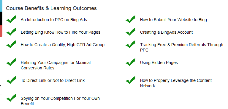 The course benefits listed.