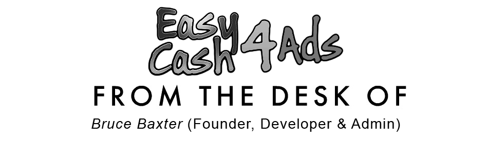 A black & white image showing the EasyCash4Ads logo and a message from the founder