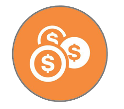Three dollar signs, each circled and all three inside a violet circle