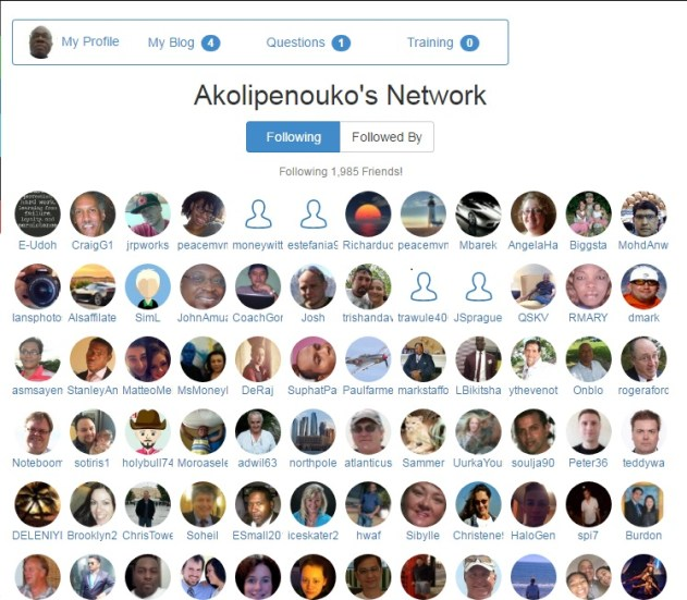 Pictures of my network following me at Wealthy Affiliate