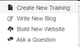 Elements of the pen icon, such as  create new training, write new blog, etc.