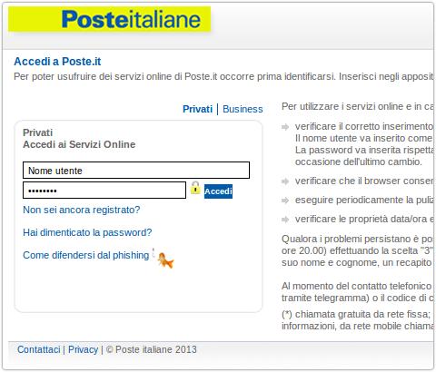 Poste Italiane Fake Site Security Affairssecurity Affairs