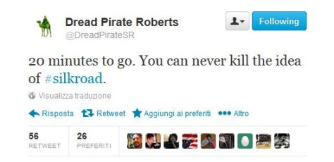 Dread Pirate Roberts Twitter Silk Road message