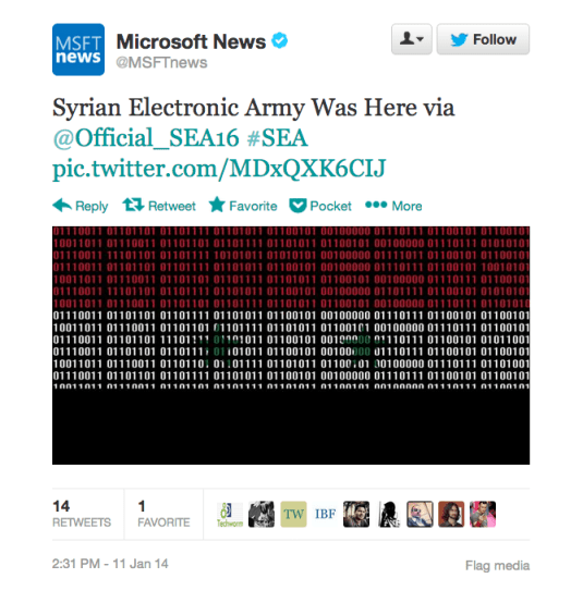 Syrian Electronic Army hacked Microsoft Twitter Account 2