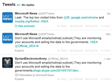 Syrian Electronic Army hacked Microsoft Twitter Account