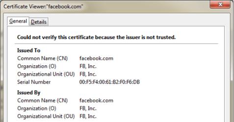 facebook fake SSL certificate