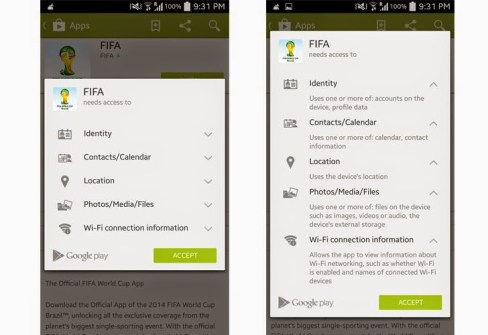 Google App Permissions FIFA 2014