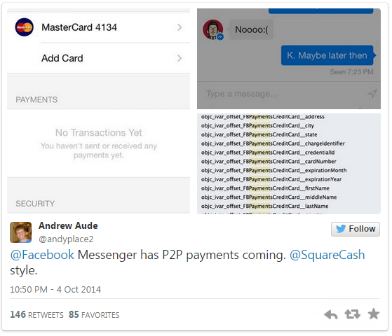 P2P payment feature hidden in Facebook Messenger